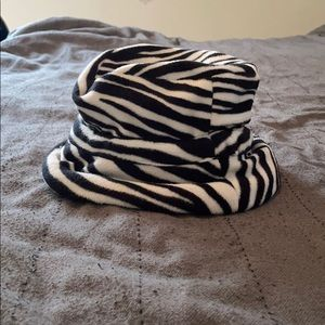 Zebra fleece hat